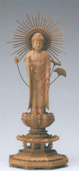 仏像 白檀 八角台座 【東立弥陀】 東型光背(サイズ5種類)の写真