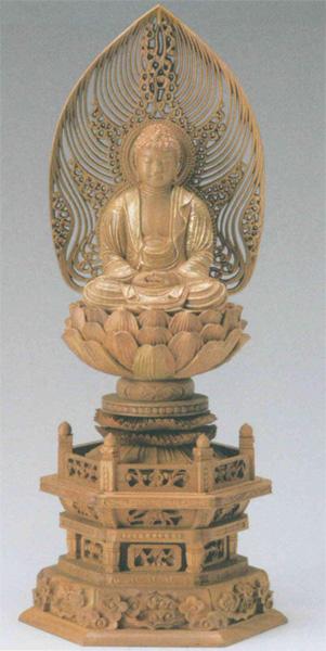 仏像 白檀 六角台座 【座釈迦】 水煙光背 [金泥書](サイズ3種類)の写真