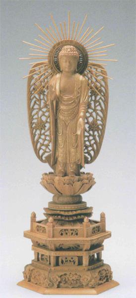 仏像 白檀 六角台座 【西立弥陀】 西型光背 [金泥書](サイズ4種類)の写真