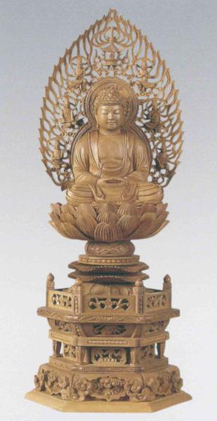 仏像 白檀 六角台座 【座釈迦】 飛天光背 [木地](サイズ3種類)の写真