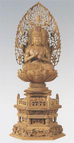 仏像 白檀 六角台座 【大日如来】 飛天光背 [木地](サイズ3種類)の写真