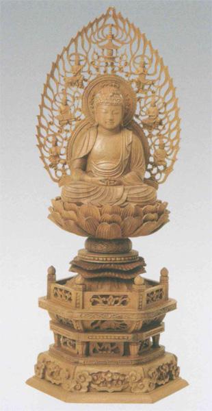 仏像 白檀 六角台座 【座弥陀】 飛天光背 [木地](サイズ3種類)の写真