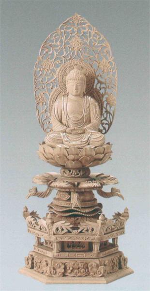 仏像 総白檀 六角ケマン台座付 【座釈迦】 [唐草光背] 金泥書(サイズ3種類)の写真