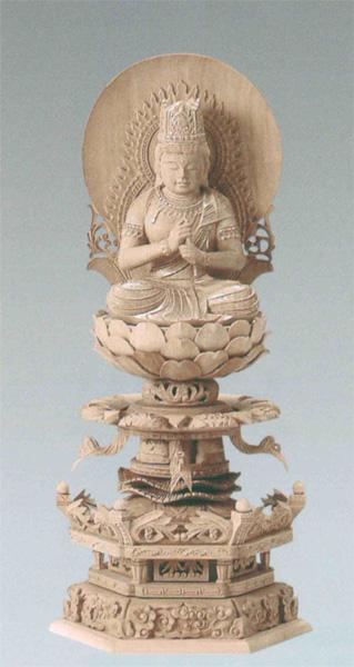仏像 総白檀 六角ケマン台座付 【大日如来】 [円光背] 金泥書(サイズ3種類)の写真
