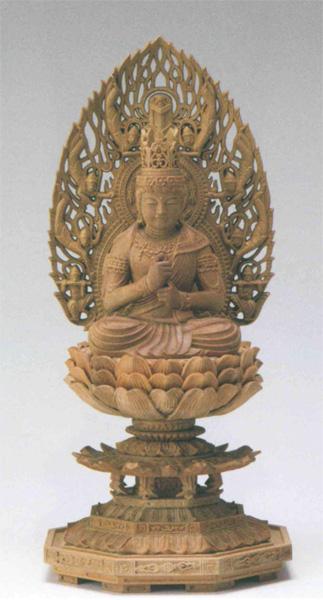 仏像 檀木 八角台座 【大日如来】 飛天光背 眼入(サイズ3種類)の写真