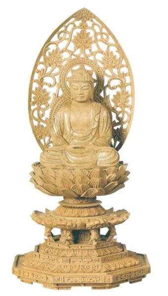 仏像 楠木地彫 八角台座 【座釈迦】 金泥書(サイズ3種類)の写真