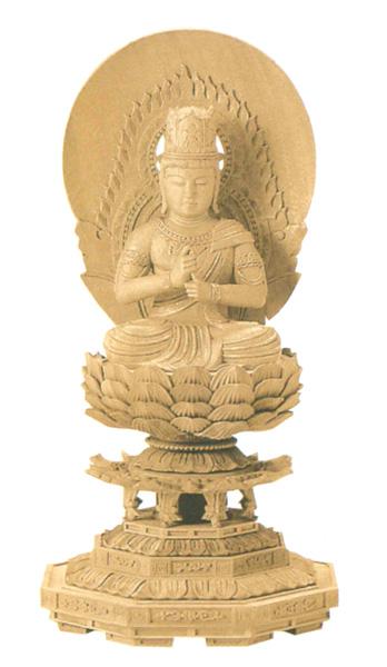 仏像 楠木地彫 八角台座 【大日如来】 金泥書(サイズ3種類)の写真