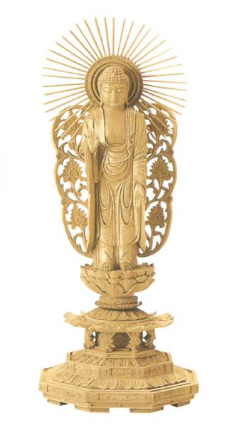仏像 楠木地彫 八角台座 【西立弥陀】 金泥書(サイズ5種類)の写真