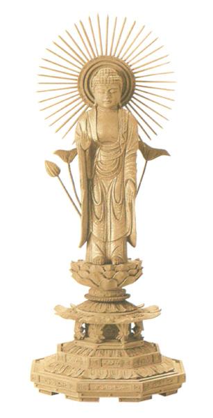 仏像 楠木地彫 八角台座 【東立弥陀】 金泥書(サイズ5種類)の写真