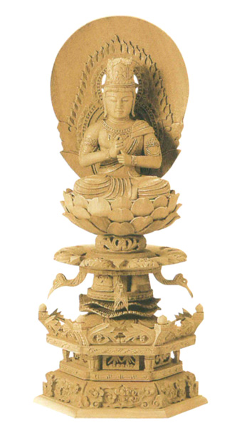 仏像 楠木地彫 六角台座ケマン付 【大日如来】 金泥書(サイズ4種類)の写真