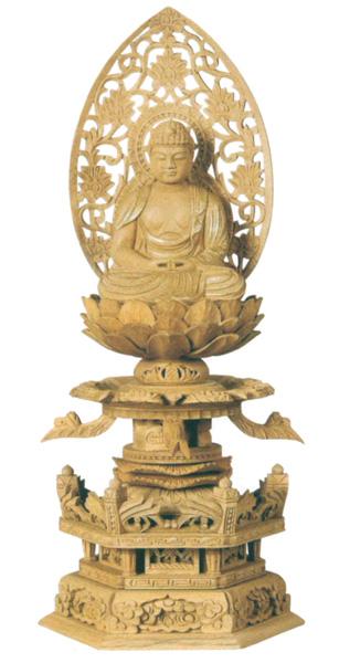 仏像 楠木地彫 六角台座ケマン付 【座弥陀】 金泥書(サイズ4種類)の写真