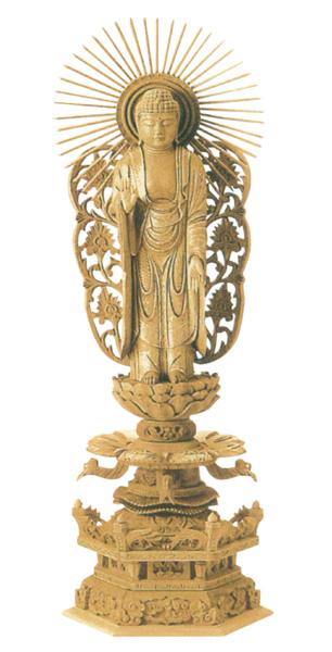 仏像 楠木地彫 六角台座ケマン付 【西立弥陀】 金泥書(サイズ6種類)の写真