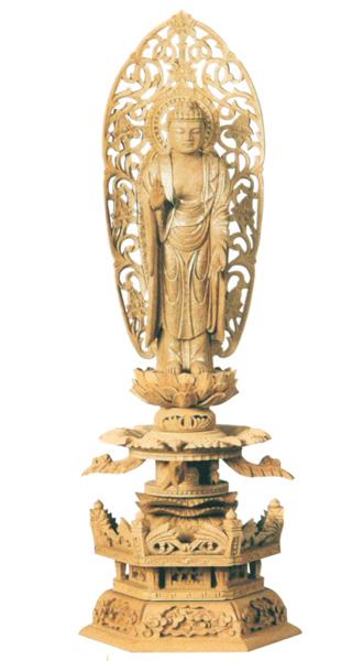 仏像 楠木地彫 六角台座ケマン付 【舟立弥陀】 金泥書(サイズ6種類)の写真