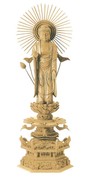 仏像 楠木地彫 六角台座ケマン付 【東立弥陀】 金泥書(サイズ6種類)の写真