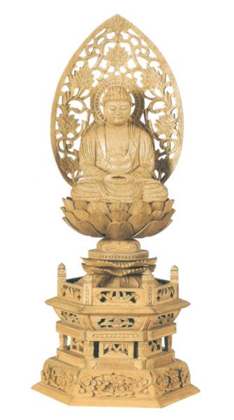 仏像 楠木地彫 六角台座 【座釈迦】 金泥書(サイズ4種類)の写真