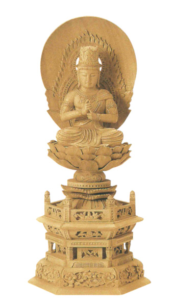 仏像 楠木地彫 六角台座 【大日如来】 金泥書(サイズ4種類)の写真