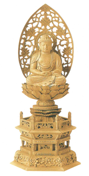仏像 楠木地彫 六角台座 【座弥陀】 金泥書(サイズ4種類)の写真