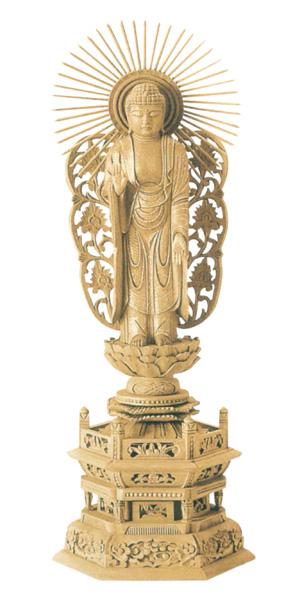 仏像 楠木地彫 六角台座 【西立弥陀】 金泥書(サイズ6種類)の写真