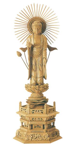 仏像 楠木地彫 六角台座 【東立弥陀】 金泥書(サイズ6種類)の写真