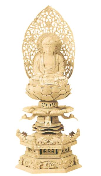 仏像 総柘植 六角ケマン 【座釈迦】 (唐草光背) 金泥書(サイズ4種類)の写真