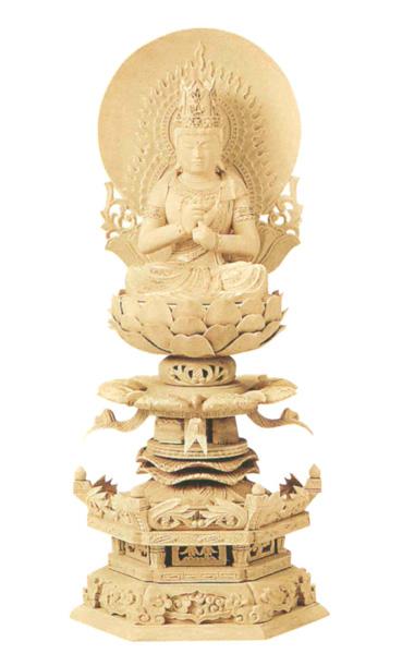 仏像 総柘植 六角ケマン 【大日如来】 (円光背) 金泥書(サイズ4種類)の写真
