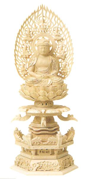 仏像 総柘植 六角ケマン 【座弥陀】 (飛天光背) 金泥書(サイズ4種類)の写真