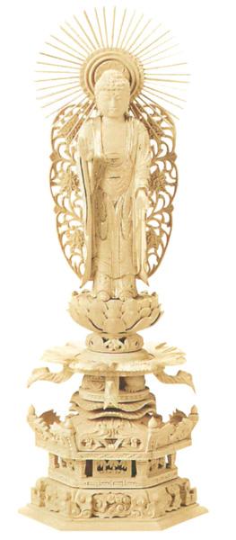 仏像 総柘植 六角ケマン 【西立弥陀】 (唐草光背) 金泥書(サイズ4種類)の写真