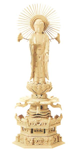 仏像 総柘植 六角ケマン 【東立弥陀】 金泥書(サイズ4種類)の写真