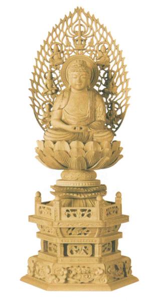 仏像 本柘植 六角台座 【座釈迦または座弥陀】 飛天光背 (金泥書)(サイズ3種類)の写真