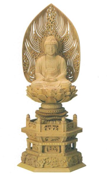 仏像 本柘植 六角台座 【座釈迦または座弥陀】 水煙光背 (木地)(サイズ3種類)の写真