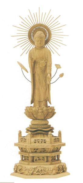 仏像 本柘植 六角台座 【東立弥陀または西立弥陀】 東型光背 (木地)(サイズ5種類)の写真