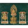 仏像 本柘植 六角台座 【座釈迦】 飛天光背 切金淡彩(サイズ3種類)の写真