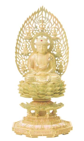 仏像 総柘植 切金淡彩 八角台座 【座釈迦】 飛天光背(サイズ種類)の写真