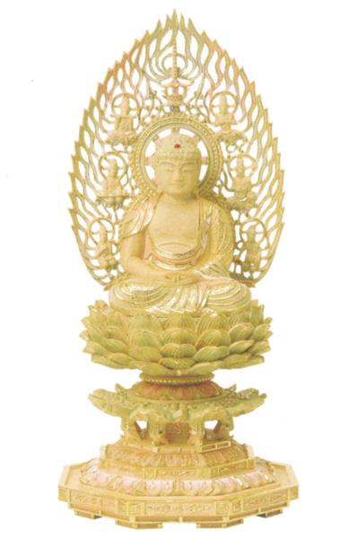 仏像 総柘植 切金淡彩 八角台座 【座弥陀】 飛天光背(サイズ3種類)の写真
