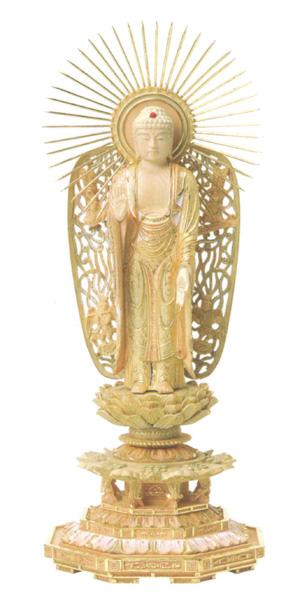 仏像 総柘植 切金淡彩 八角台座 【西立弥陀】 飛天光背(サイズ4種類)の写真