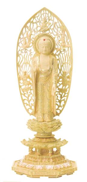仏像 総柘植 切金淡彩 八角台座 【舟立弥陀】 飛天光背(サイズ4種類)の写真