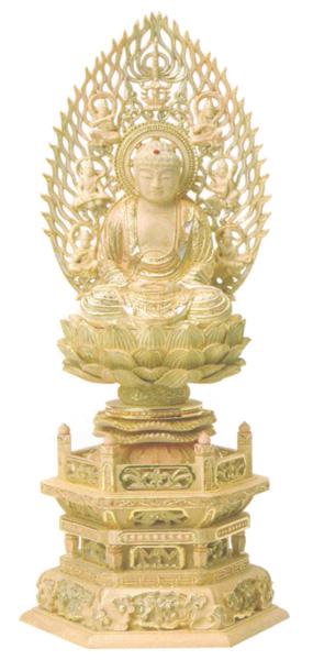 仏像 総柘植 切金淡彩 六角台座 【座釈迦】 飛天光背(サイズ3種類)の写真