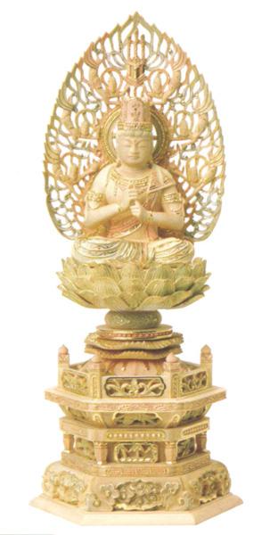 仏像 総柘植 切金淡彩 六角台座 【大日如来】 飛天光背(サイズ3種類)の写真