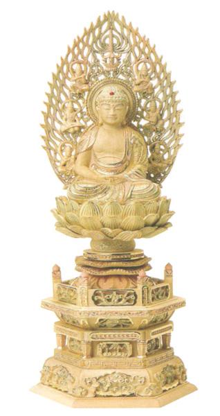 仏像 総柘植 切金淡彩 六角台座 【座弥陀】 飛天光背(サイズ3種類)の写真