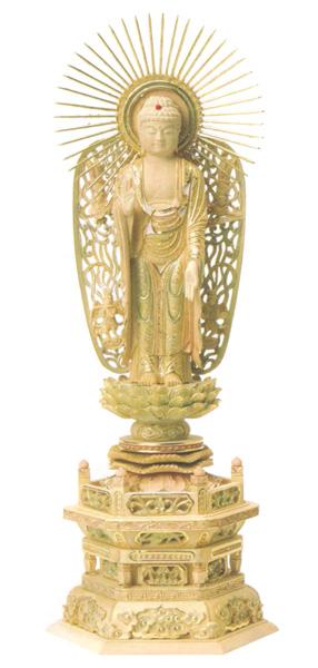 仏像 総柘植 切金淡彩 六角台座 【西立弥陀】 飛天光背(サイズ4種類)の写真