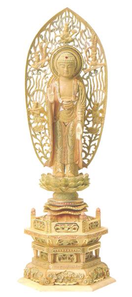 仏像 総柘植 切金淡彩 六角台座 【舟立弥陀】 飛天光背(サイズ4種類)の写真
