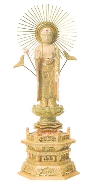 仏像 総柘植 切金淡彩 六角台座 【東立弥陀】 飛天光背(サイズ4種類)の写真