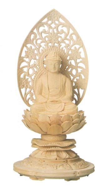 仏像 桧木 上彫木瓜丸台座 【座釈迦】 唐草光背(サイズ2種類)の写真
