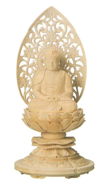 仏像 桧木 上彫木瓜丸台座 【座弥陀】 唐草光背(サイズ2種類)の写真