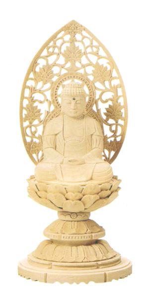 仏像 総白木 丸台座 【座釈迦】(木地)(サイズ6種類)の写真