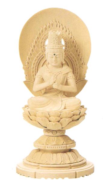 仏像 総白木 丸台座 【大日如来】(木地)(サイズ6種類)の写真