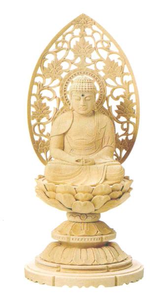 仏像 総白木 丸台座 【座弥陀】(木地ま)(サイズ6種類)の写真