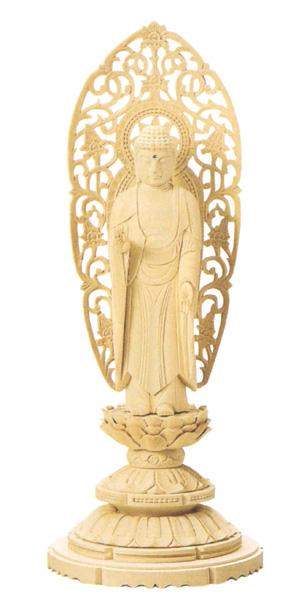 仏像 総白木 丸台座 【舟立弥陀】(木地)(サイズ6種類)の写真