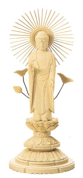 仏像 総白木 丸台座 【東立弥陀】(木地)(サイズ6種類)の写真
