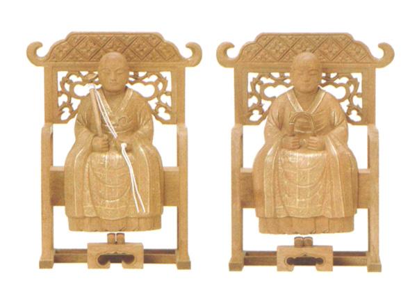 仏像 楠木地彫 【常済・承陽】(太祖・高祖)金泥書(サイズ4種類)の写真